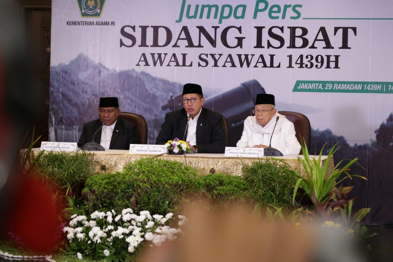 Pemerintah Tetapkan Idulfitri 1439H Jatuh Pada Jumat