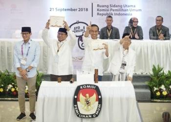 Pilpres 2019: Joko Widodo-KH. Ma'ruf Amin Nomor 01, Prabowo Subianto-Sandiago Uni Nomor 02