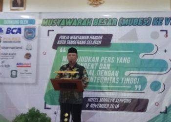 Benyamin Davnie saat menghadiri Mubes VI Pokja Wartawan Harian Tangerang Selatan (PWHTS)