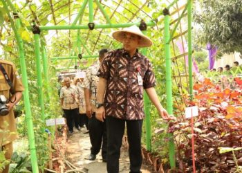 Bupati Tangerang Zaki Iskandar saat mengunjungi Desa Kayu Bongkok. (RAY)