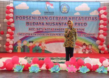 Walikota Airin Rachmi Diany memberi sambutan pada kegiatan Gebyar Kreatifitas Budaya Nusantara PAUD. (IST)