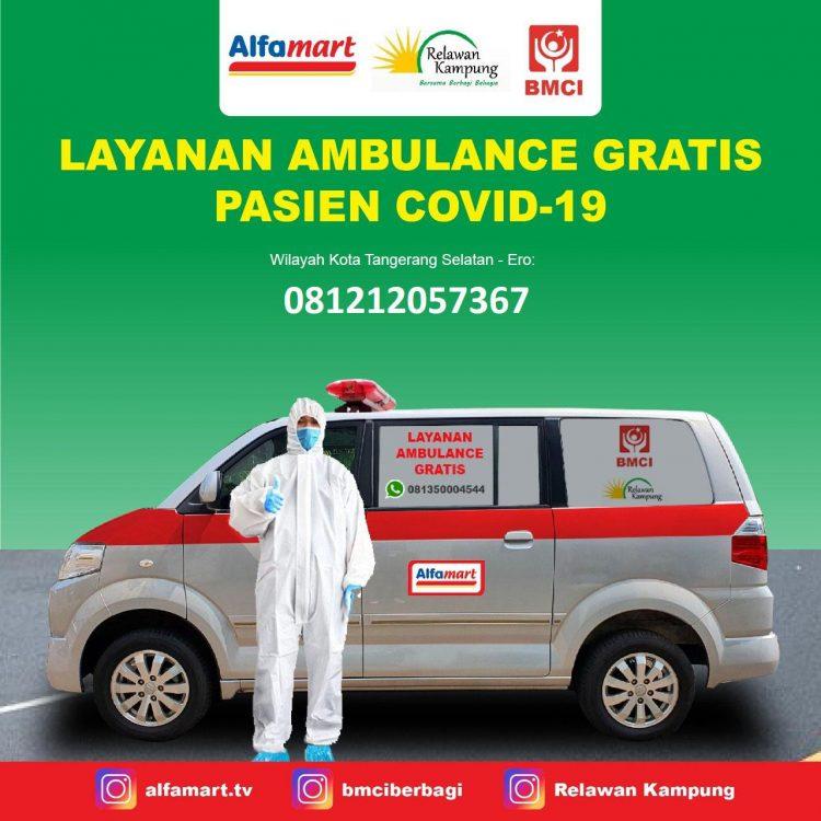 Ambulance gratis untuk pasien covid-19 Alfamart. (IST)