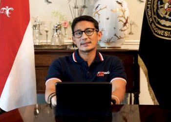 Menteri Pariwisata dan Ekonomi Kreatif, Sandiaga Salahuddin Uno saat memberikan sambutan dalam wisuda Universitas Multimedia Nusantara (UMN). (IST)